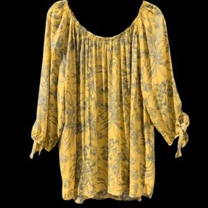 FD Fred David Womens Floral plus Size Tunic Top 2X